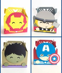 Avengers favor boxes - Set of 12 | Iron Man, Hulk, Thor, Captain America party decor | Avengers baby shower | Superhero theme birthday party