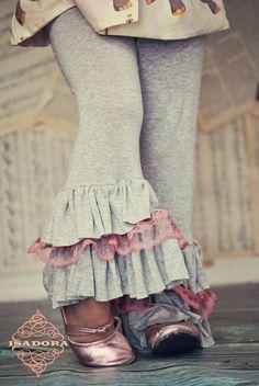 Items similar to Girls Ruffle Pants Grey with Pink lace on Etsy Girls Ruffle Pants, Girls Pants, Little Girl Fashion, Toddler Fashion, Kids Outfits, Cute Outfits, Stylish Kids, Lace Ruffle, Pink Lace