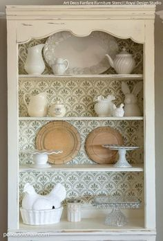 Shabby Chic Chalk Paint Painted Furniture Cabinet Stencils - Royal Design Studio