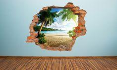 Effect Wall Vinyl in Choice of Design for Off) Window Mural, Door Murals, Beach Wall Murals, Mural Wall Art, Shark Room, Break Wall, Waterfall Paintings, Silhouette Painting, Beautiful Nature Wallpaper