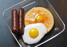 Breakfast, Yum! Egg, Pancake, Sausages and A Clear Plate. American Girl Doll Food.