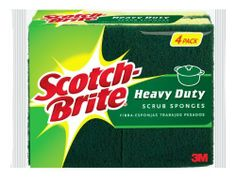 Scotch-brite Heavy Duty Scrub Sponge 424-T-12, 4-Count (Pack of 3) by 3M. $16.99. Number 1 selling scrub sponge in America. Great for the kitchen, garage and outdoors. Sanitize in the dishwasher & reuse!. Removes tough, baked-on messes 50% faster than other competitive sponges. Reach for the Scotch-Brite(R) Heavy Duty Scrub Sponge because sometimes the mess is just too tough for a regular scrub sponge. From grunge on the grill, to pots and pans that sat overni...