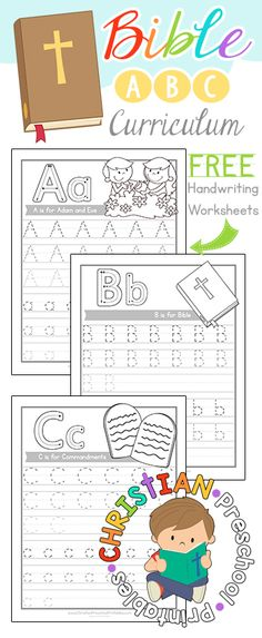 Free Bible ABC Curriculum--Sample Pack!  Download our Bible ABC Handwriting Pages free at Christian Preschool Printables!