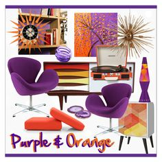 """Color Challenge * Orange & Purple *  Living Room"" by calamity-jane-always ❤ liked on Polyvore featuring interior, interiors, interior design, home, home decor, interior decorating, Joybird Furniture, METROCUADRO Design, Times Two Design and Steel 