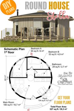 Small and tiny Home plans with cost to build - Stella Round Tiny House Plans. Small and tiny Home plans with cost to build - Stella Round Tiny House Plans. Micro House Plans, Round House Plans, Small House Plans, House Floor Plans, Casa Octagonal, Tiny House Trailer, Tiny House Movement, House Blueprints, Earthship