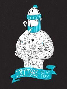 Tattoos tell my story by Alexandre Mauro, via Behance Sailor Illustration, Tattoo Illustration, Children's Book Illustration, Character Illustration, Graphic Design Illustration, Christmas Illustration, Tinta Tattoo, Lucky Tattoo, Photomontage