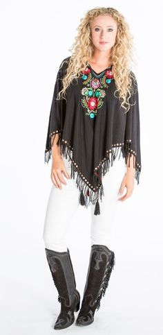 Double D Ranch Spring Santa Fe Lullaby Poncho - flowers, embroidery, poncho, cowgirl, western, rhinestones http://www.cowgirlkim.com/double-d-ranch-spring-2016-santa-fe-lullaby-poncho-2-color-options.html