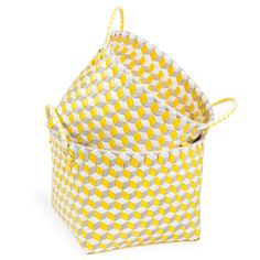 2 paniers tressés en plastique gris et jaunes 21 x 21 cm et 24 x 24 cm DAMIERS