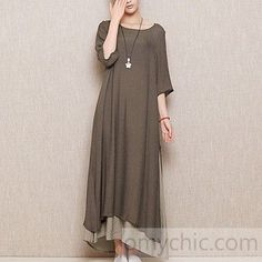 60b6c64a22d Gray plus size layered linen sundress cotton summer maxi dresses long  casual traveling clothing Linen Dresses
