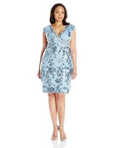 44cf0bd4bd290 Marina Women s Plus-Size Short Dress In Floral Lace at Amazon Women s  Clothing store