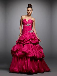 A-line Rose Red Sweetheart Ruffles Open Back Long Prom Dress With Sequins