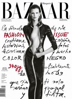 Bette Franke graces the October 2012 cover of Harper's Bazaar Spain. Photographed by Nico.