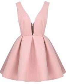 Pink V Neck Backless Midriff Flare Dress