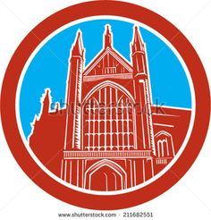 Illustration of the Winchester Cathedral a Church of England cathedral in Winchester, Hampshire, England set inside an oval done in retro woodcut style. #church #retro #illustration