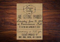 Wedding Invitation: Illustrated Whimsy -- Hand Drawn Style Wedding Invite - Printed or Printable // Kraft Paper
