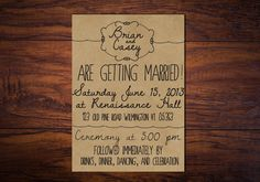 Wedding Invitation: Illustrated Whimsy -- Hand Drawn Style Wedding Invite - Printed or Printable // Kraft Paper on Etsy, $45.00
