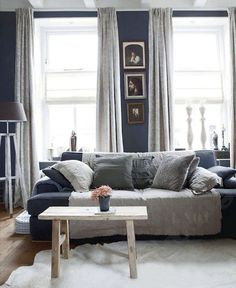 blue and grey living room - couch