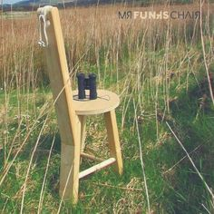 Mr Funk's Chair is the ideal companion to bring along to the countryside for bird-watching! Here he is carefully minding some binoculars! Cane Furniture, Porch Furniture, Furniture Legs, Furniture Sale, Unique Furniture, Wooden Furniture, Funky Chairs, Cool Chairs, Irish Design