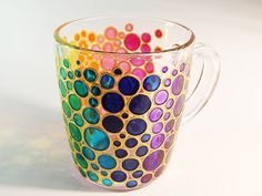 Hand painted Bubbles Coffee Mug colorful by StainedGlassHandmade