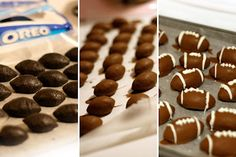 """ Football Oreo Truffles - what a fun football party food to make with the whole clan!"" Like the snack idea. Just Desserts, Delicious Desserts, Dessert Recipes, Yummy Food, Candy Recipes, Football Snacks, Football Parties, Football Humor, Football Birthday"
