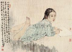 何家英 (He Jiaying) maybe durer developed his signature from Asian art? Of course, watercolor.