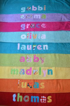 applique name towel personalized bath towel great gift for kids