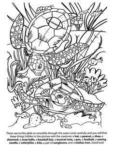 Wildlife Hidden Pictures -- 2 sample pages with answers Hidden Object Puzzles, Hidden Picture Puzzles, Hidden Objects, Coloring Book Pages, Coloring Pages For Kids, Color Puzzle, Mermaid Shell, Fish Drawings, Hidden Pictures
