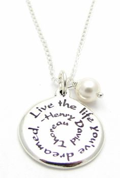 """Sterling Silver Charm Necklace  """"Live the Life You've Dreamed"""" Henry David Thoreau Quote Swarovski Pearl Necklace 18"""""""