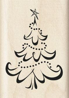 Inkadinkado Calligraphy Christmas Tree Wood Stamp