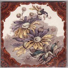 Victorian Antique Ceramic Tile Azulejos Art Nouveau, Art Nouveau Tiles, Victorian Tiles, Victorian Decor, Tile Art, Mosaic Tiles, Unique Tile, Artistic Tile, Antique Art