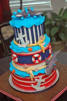 Nautical/Shark cake - Love it! Cupcakes, Cupcake Cakes, Shoe Cakes, Pretty Cakes, Beautiful Cakes, Amazing Cakes, Ocean Cakes, Beach Cakes, Christian Cakes