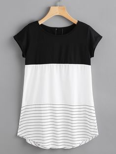 Shop Contrast Panel Lace Applique Striped Tee online. SheIn offers Contrast Panel Lace Applique Striped Tee & more to fit your fashionable needs.