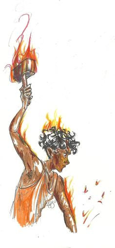Leo valdez!------ this is EXACTLY how I pictured Leo, I always imagined whenever he was in the forge he was serious intense and focused to the point where he was on fire and didn't know or didn't care and now one dared stop him