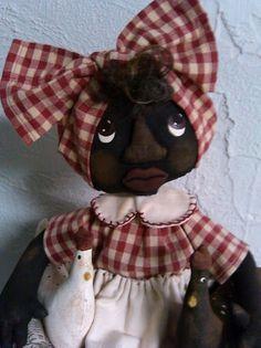 Primitive Black Folk ART Mammy Doll SET Rooster Chicken   eBay primitivewishfuls