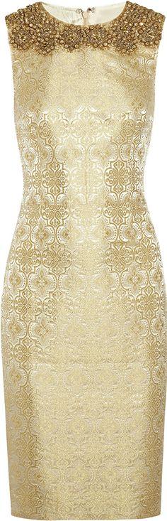 Vera Wang ● Gold Embellished Brocade Sheath Dress