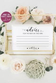 Palm tree wedding madlibs PRINTED Bridal shower games Wed-libs advice cards Beach wedding advice cards