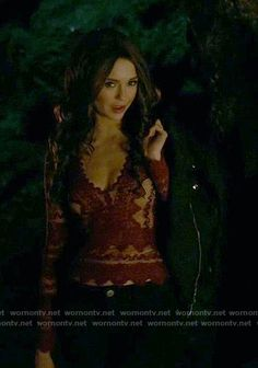 Katherine's red lace top on The Vampire Diaries.  Outfit Details: https://wornontv.net/67379/ #TheVampireDiaries
