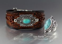 I made a ring to go with my leather bracelet.  I wear this one a lot and thought it would be cool to have a set.  It is turquoise set in sterling and fine silver.  Lisa Barth