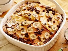 Chocolate-Banana Pancake Casserole is perfect for a comfort food packed breakfast.