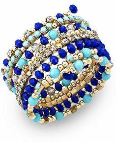 INC International Concepts Gold-Tone Blue Bead Coil Bracelet