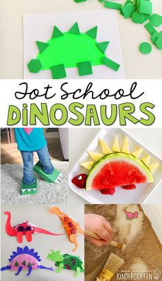Tons of dinosaur themed activities and ideas. Weekly plan includes books fine motor gross motor sensory bins snacks and more! Perfect for tot school preschool or kindergarten. Dinosaurs Preschool, Dinosaur Activities, Learning Activities, Preschool Activities, Dinosaur Crafts, Animal Activities, Dinosaur Dinosaur, Dinosaur Nursery, Nutrition Activities
