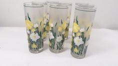 "8 Vintage 6 3/4"" Frosted Drinking Glasses with Yellow & White Flowers #unbranded"
