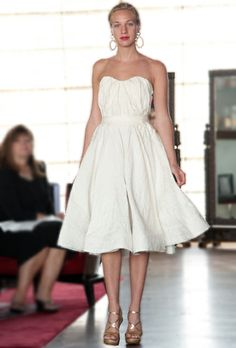Brides looking for something fun and flirty for the reception will fall in love with Lanvin's strapless knee-length party dress …