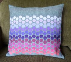 Ombre Hexagon Quilted Pillow Cover / Purple Pink Solids + Essex Linen / Decorative Sofa Pillow / Modern / Custom Made / Ready to Ship by amseckman on Etsy https://www.etsy.com/listing/232136999/ombre-hexagon-quilted-pillow-cover