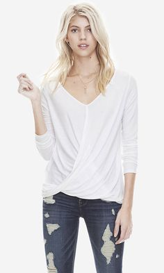 White One Eleven 2-in-1 Surplice Tee | Express