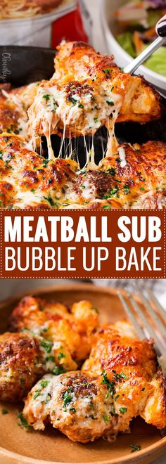 Meatball Sub Bubble Up Bake | This bubble up bake tastes just like a great meatball sub and a casserole, made in one pan!  Sure to be a weeknight favorite with both kids and adults! | https://www.thechunkychef.com | #bubbleup #bake #meatball #sub #onepan #comfortfood