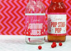 Jammin' Juice and Pop Star Pop Beverage Labels ~ perfect for a Rock Princess #Birthday #Party