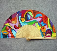 Abanico pintado a mano inspirado en la obra de Arshile Gorky. Un abanico, una obra de arte. #abanicospintadosamano #abanicosmodernos #abanicoespañol #abanicosartesanales