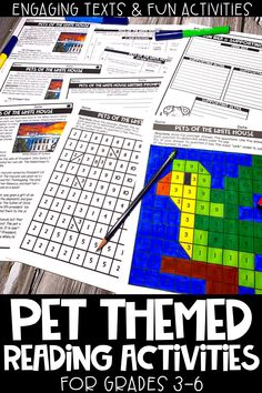 These pet themed reading activities are perfect for distance learning, e-learning and/or homeschool! This reading comprehension resource is no prep, print and go and helps upper elementary students practice their close reading skills. Includes 3 Engaging and high interest passages about pets, mystery picture, graphic organizer, writing prompts & more!!