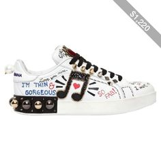 Dolce & Gabbana Women 20mm Portofino Studded Leather Sneakers